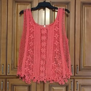 Crocheted floral boho top